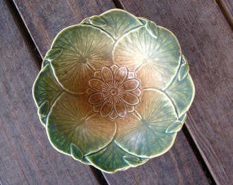 Weller Pottery Bowl, Dish, Pumila Design, Matte Green and Tan, Arts and Crafts, Art Nouveau Style, Vintage 1920s