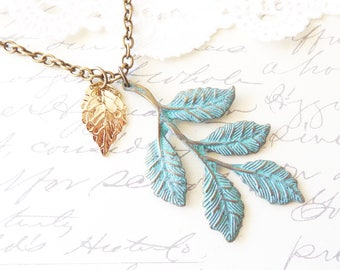 Verdigris Leaf Spray Necklace - Verdigris Leaf Branch Necklace - Gold Leaf Charm Necklace - Woodland Leaf Necklace - Layering Necklace
