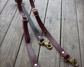 Handmade Leather Suspenders Steampunk with brass hardware