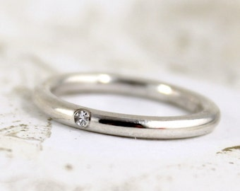 Diamond Band - Sterling Silver Diamond Band - Men's or Ladies Jewellery - Wedding Bands - Engagement Rings - Stacking Ring