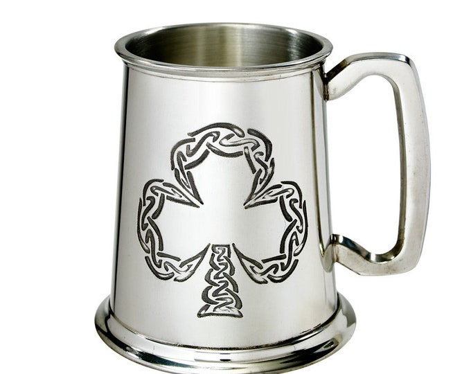 Personalised Irish Shamrock Irish Harp Pewter 1 Pint Tankard Customised Engraved Message