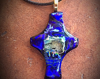 Multicolored Cross Pendant Fused Glass Dichroic Necklace Spiritual Jewelry Cross Necklace Blue Pink Wearable Art Christian Necklace Rock