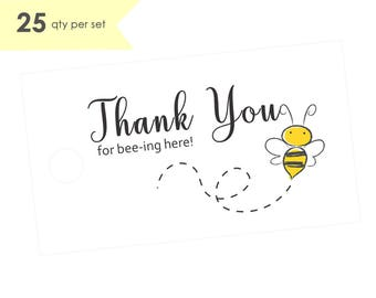 25 Thank You for Beeing Here Tags- Bee Baby Shower Tags Bee- Baby Shower Thank You Tags- Bee Baby Shower Decorations- Baby Shower Gift Tags