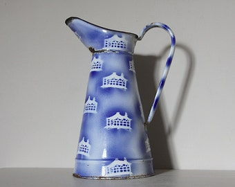 Antique French Enamel Pitcher/Jug White with Blue decorative design