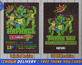 Ninja Turtle Invitation with FREE Thank you card, Ninja Turtles Party, TMNT invitation, Teenage Mutant Ninja Turtle invitations, TMNT
