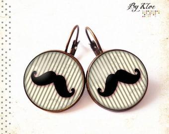 Earrings cabochon mustache stripe bow black gray steampunk glass • •