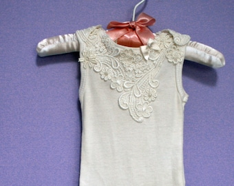 Baby Bodysuit #314, cotton one-piece,white or ivory, baby wedding outfit, baptism, christening