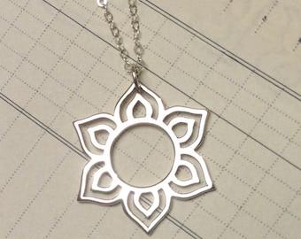 Mehndi inspired lotus sterling silver pendant charm necklace sunburst jewelry