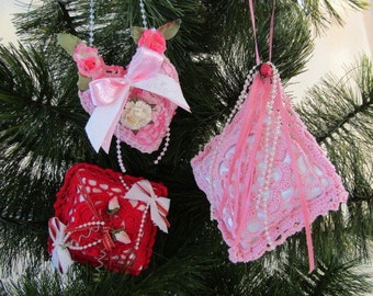 Set of 3 Crocheted Sachets, Red, Pink, and Variegated