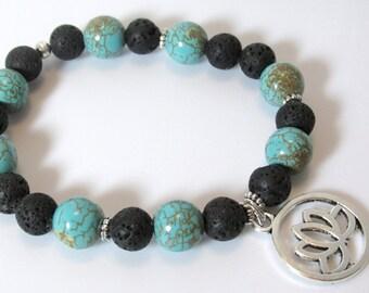 Lava Bracelet, Turquoise Lava Bracelet, Turquoise Yoga Bracelet, Turquoise Lotus Bracelet, Yoga Bracelet, Aromatherapy, Diffuser, Adjustable