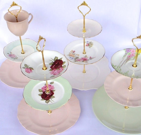 & How to make a Vintage 3 Tier Cup Cake Plate Wedding Stand DIY