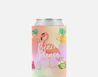 Flamingo Can Coolers, Beach Please Can Cooler, Personalized Can Coolers, Can Hugger, Beer Hugger, Beach Can Coolers, Beverage Insulator