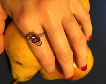 Sterling Silver 925 Amethyst Ring, Zircon,Christmas gift, Englich Lock, February Birthstone, Purple Amethyst