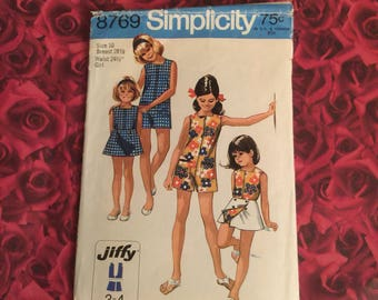 70's Vintage Girls Pant dress Reversible wrap skirt Sewing Pattern