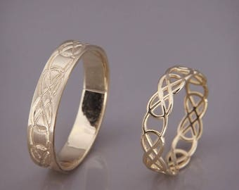 14K Gold Celtic Knot Wedding Rings Set | Handmade 14k gold Celtic wedding Rings | His and Hers Wedding Bands Set