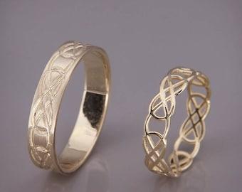 14K Gold Celtic Knot Wedding Rings Set | Handmade 14k gold Celtic wedding Rings | His and Hers Wedding Bands Set