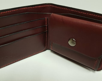 Handmade Hand-sewn Burgundy Leather Wallet with Coin Pocket