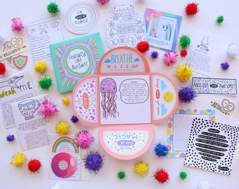 Mini 'Anxious and Awesome' Self-Care Kit   Small Gift   Self-Care Temporary Tattoos   Handmade with love   21 + pieces