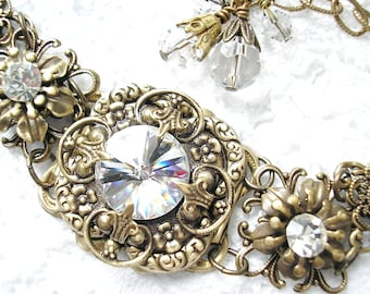 Crystal Clear Swarovksi Rivoli Bracelet Antiqued Brass Filigree Bracelet Vintage Victorian Style Bracelet- Morning Glory Designs