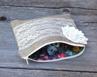 Bridal Clutch, Floral Clutch, Burlap and Lace Wedding, Mother of the Bride Gift, Burlap Bag, Bridesmaid Gift Idea, Woodland Wedding Clutch