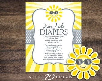 Instant Download You Are My Sunshine Late Night Diapers, 8x10 Yellow Grey Sun Diaper Thoughts, Sun Baby Shower Decorate Diaper Activity 72B