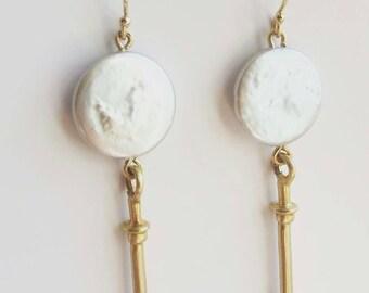 Coin Pearl Drop Amulet Earrings. Gold or Sterling Silver Drop Earrings. Statement Earrings. Gold dangle Earrings. Pearl Earrings.