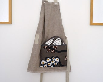 kitchen apron - full apron and potholders set in floral modern taupe and linen - hostess gift - hot pads and apron