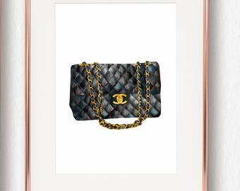 Coco Chanel Quilted Handbag Print