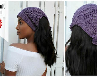 Loom Knitting Patterns Headband Ear Warmer Messy Bun Hat. Includes Video Tutorial. For Large or Extra Large Round Knitting Looms | Loomahat