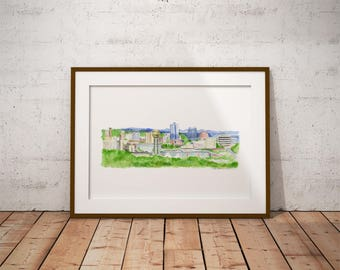 Knoxville skyline - Knoxville watercolor - Knoxville Tennessee print - Knoxville painting - sunsphere downtown Knoxville - Knoxville art