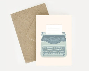 Typewriter, illustrated postcard