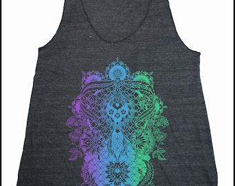 Women's PERENNIALS Mandala Tank Dotwork Sacred Geometry Psychedelic Symmetry Shirt
