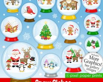 Snow Globes - Christmas clipart - Clip Art Set