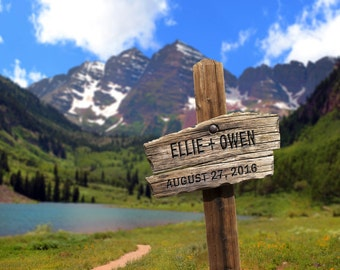 Wedding Gift Maroon Bells Personalized Trail Sign Colorado Aspen Denver Names Photo Anniversary Valentines Day pp74