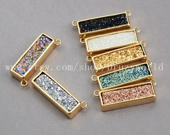 Wholesale Gold Plated Rectangle Natural Titanium Agate Druzy Bar Connector Pendant Natural Shining Geode Crystal Charm Jewelry Finding ZG016