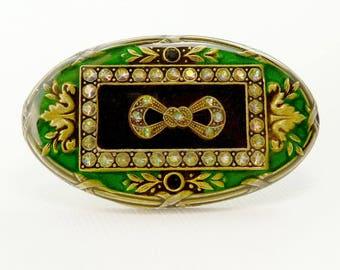 Vintage Catherine Popesco Brooch Art Deco Green Enamel