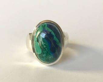Azurite & Malachite Ring US 8 1/4