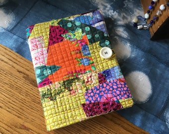 COMPOSITION Notebook Book Cover - Quilted scrappy Fabric collage