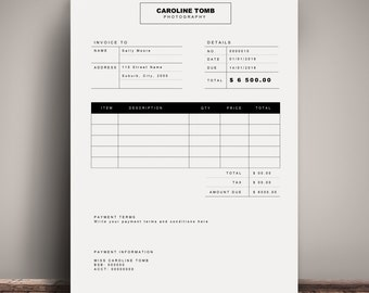 Invoice Template Receipt MS Word And Photoshop Template - Ms word invoice template doc kaws online store