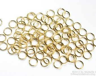 6mm Gold Jump Rings - 6 mm 20 Gauge Gold Plated Brass Jump RIngs - Open Jumprings - Pack of 100 Goldtone Jump Rings - Ships FAST from USA
