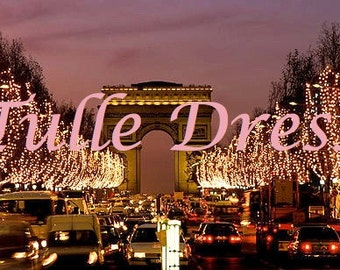 Holiday Arch de Triumph Glittery Light Tree Lined Path in Paris Christmas Customized Cards (set of 10)