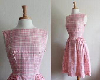 1950s Dress / Pink Plaid Dress / Vintage 50s Day Dress