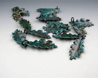 Enameled  extra small Oak Leaf  / Teal enamel / Made to order