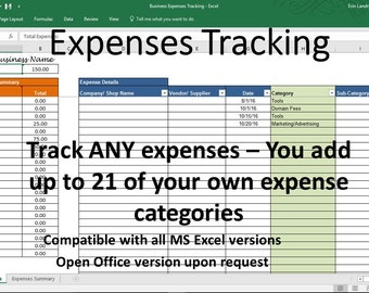 Expense Tracker, Business Expense Tracking, Overhead Expense Categories