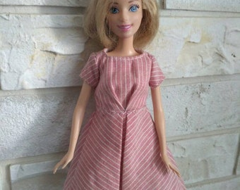 Barbie clothes Pink striped dress for Barbie