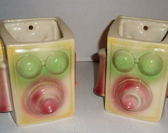 Two Shawnee Telephone Wall Pockets.  Planters.  Vases.  Shawnee Pottery.