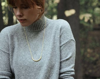 Tube . Long minimalist gold plated  necklace with a curved tube / Gifts for women