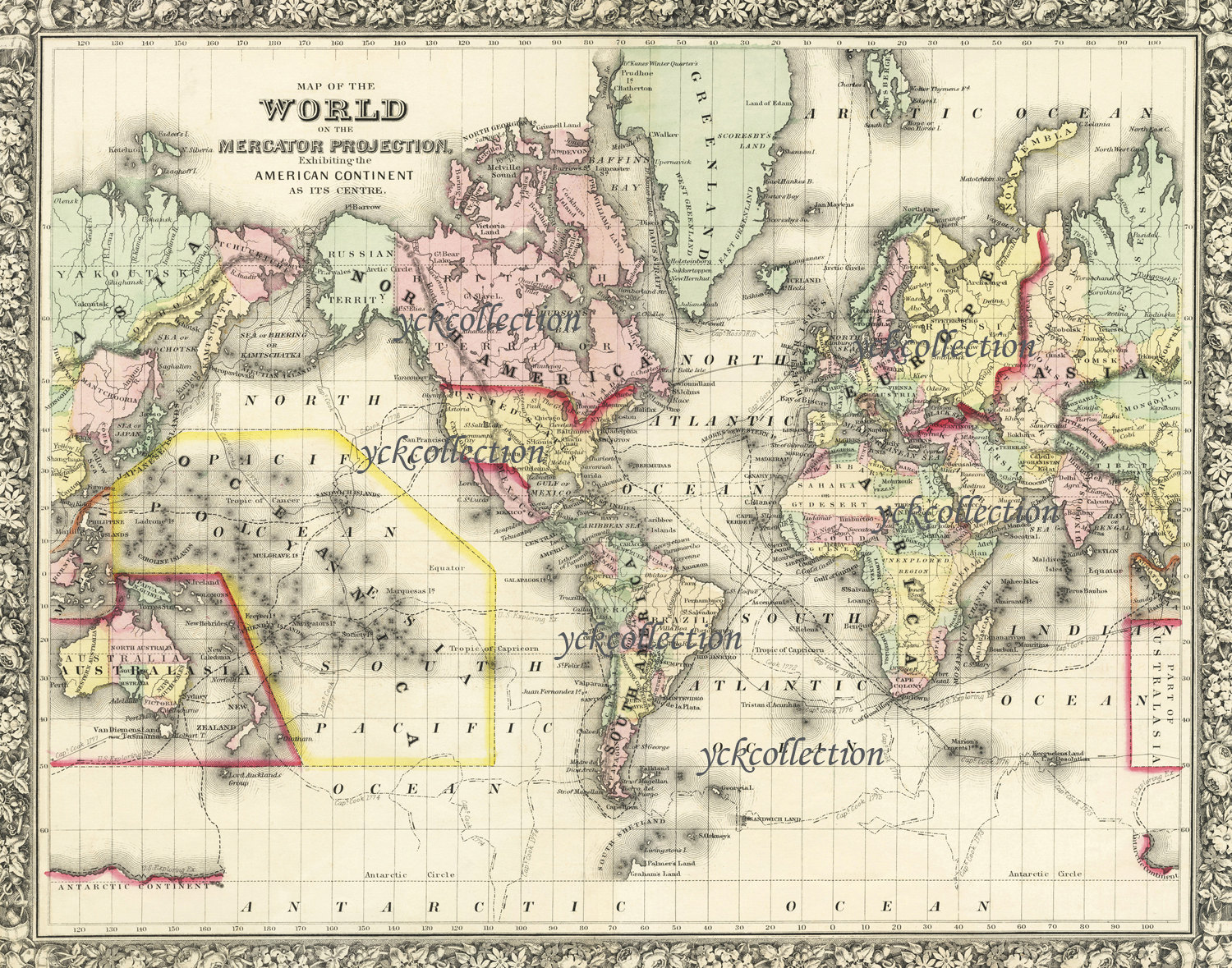 Antique world map 8 x 10 to 40 x 52 vintage 1863 map in zoom gumiabroncs Choice Image