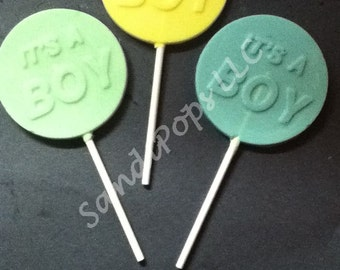 24 Baby Shower /  Baby Announcement/ It's a Girl / Boy BABY Chocolate Lollipops- SOLID