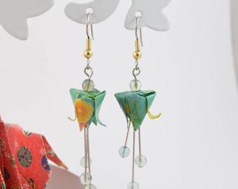 Green lotus flower origami earrings
